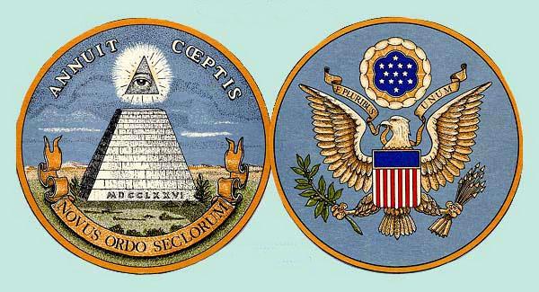Forsiden og baksiden av det amerikanske segl. Det er fullt av okkulte symboler og -tall. Vi ser pyramiden med det altseende øyet, og stjernene over føniksensørnens hode danner og heksagram innskrevet i en sirkel osv.