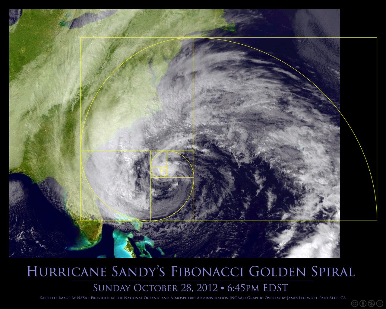 FIbonacci-spiralen finner vi også i stormer og orkaner.