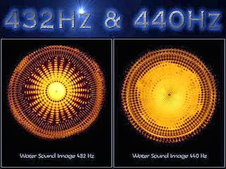 Ser litt stressa ut det vannet utsatt for 440 Hz.